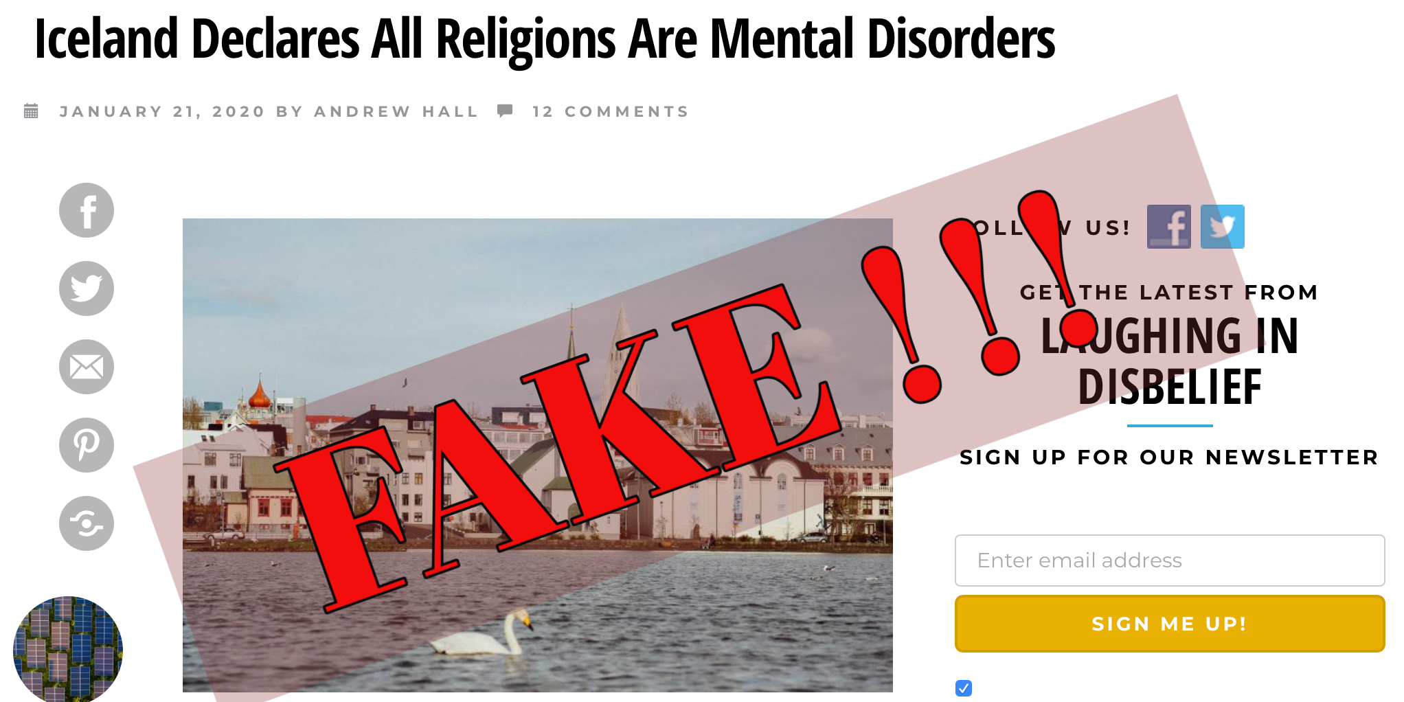 TRUE? ICELAND declares all religions are mental disorders