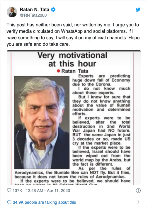 RATAN TATA DID NOT SAY IT- CORONA EXPERTS AND THE INDIAN ECONOMY