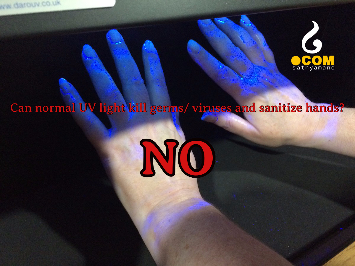 Can UV light be used to disinfect hands?
