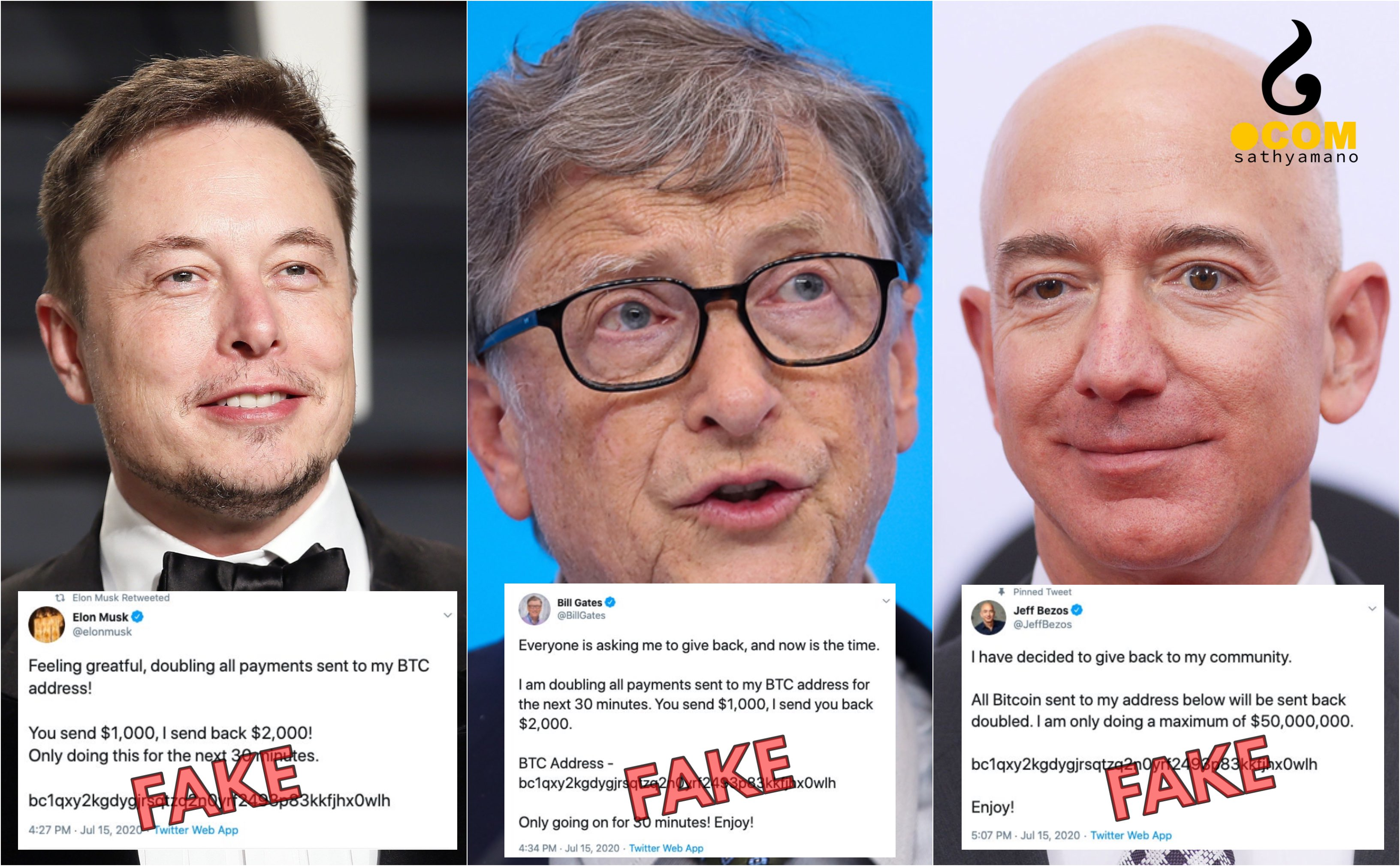 Elon Musk, Bill Gates and Jeff Bezos' Twitter hacked with Bitcoin scam